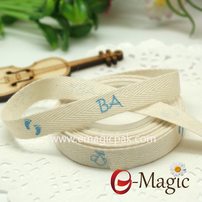 Natural Cotton ribbon with printed handmade for DIY
