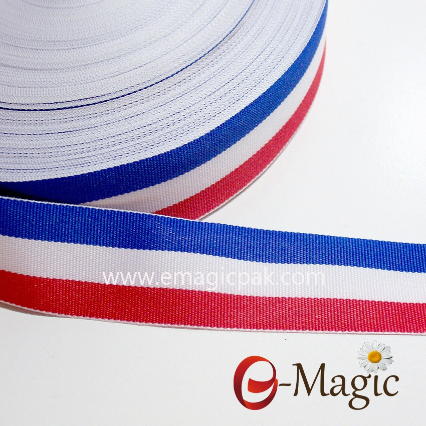 Custom wholesale high quality stripe grosgrain ribbon imported