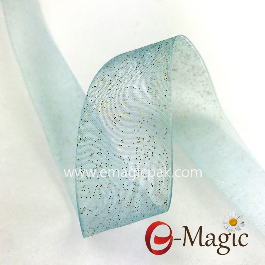 Organza Ribbon with Silver Metallic