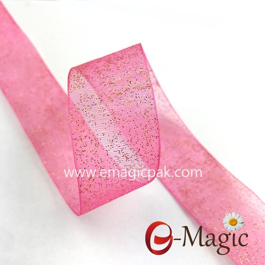 Wholesale Custom Printed Glitter ribbon