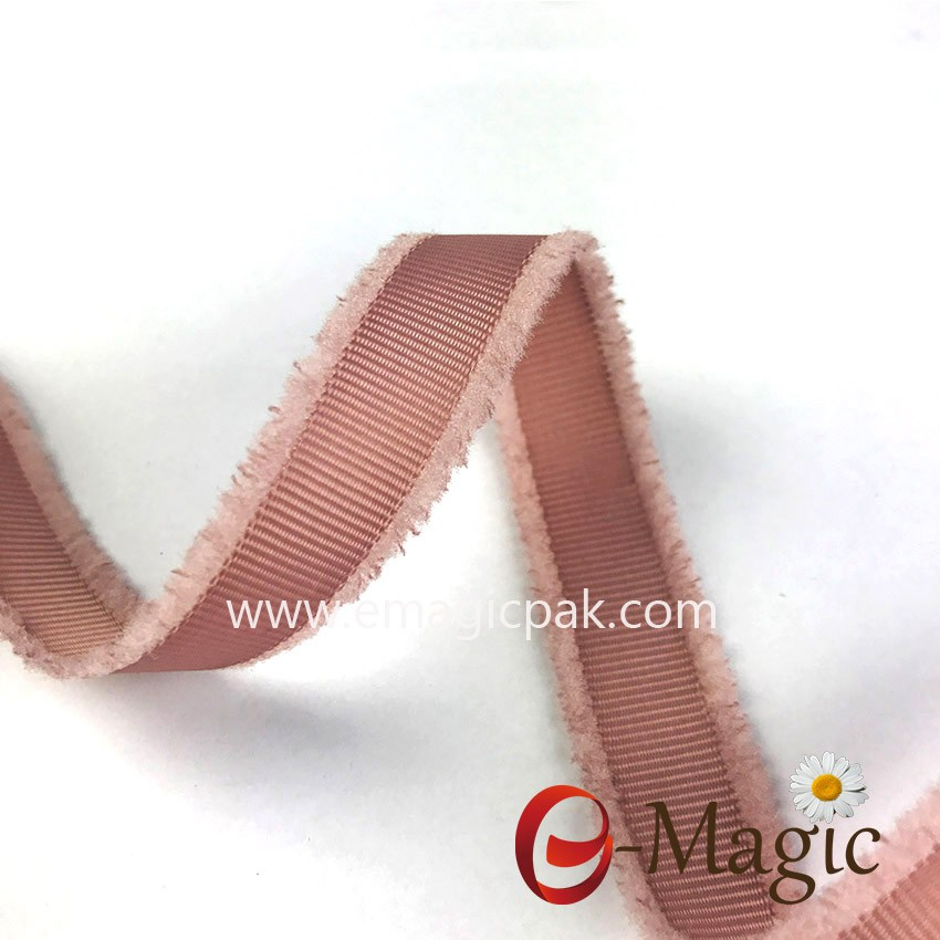 pink grosgrain ribbon with fringes edge