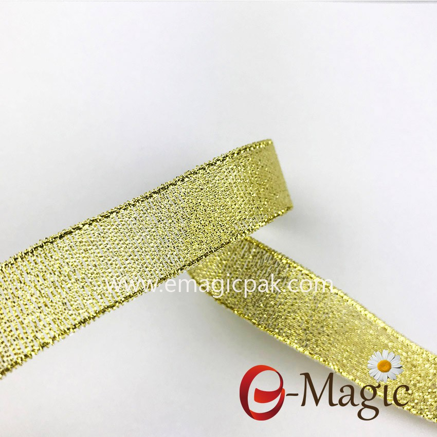 wholesale Chrismas Ribbon gold and silver metallic decorative ribbon