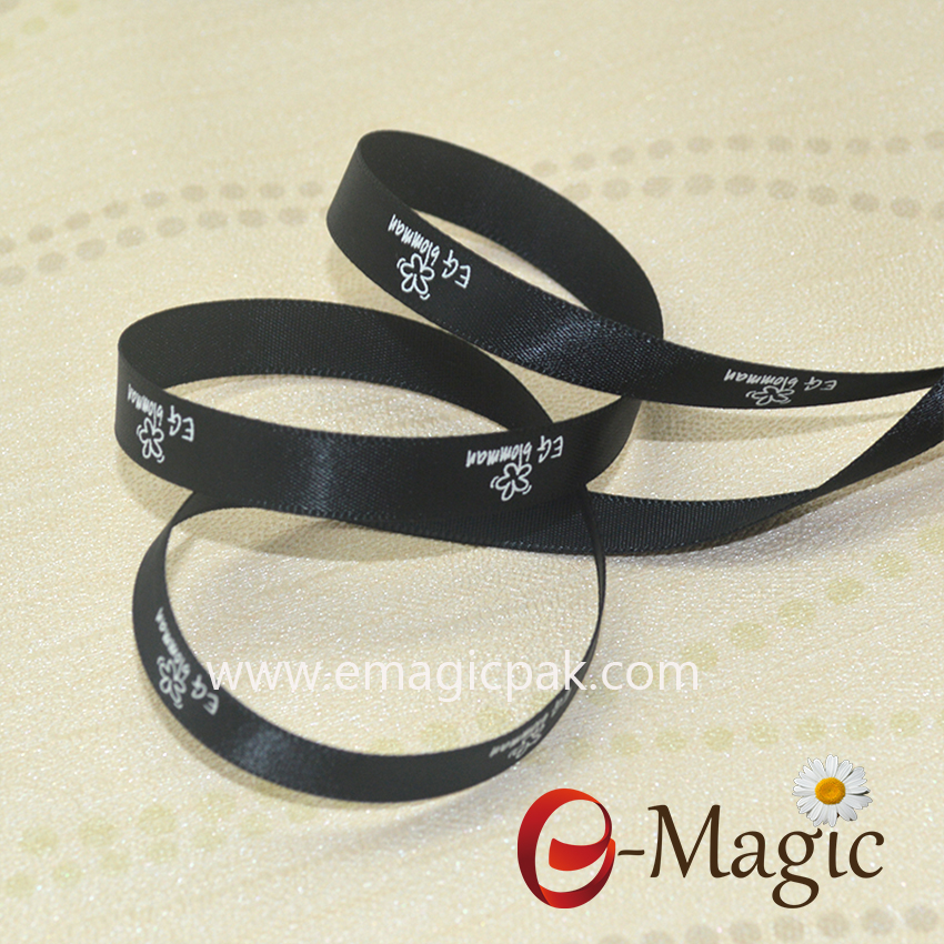 10mm black ribbon with white ink logo print