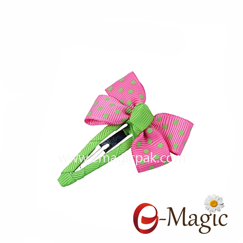 HB-013 OEM custom sweet girls print ribbon bow snap professional hair clips