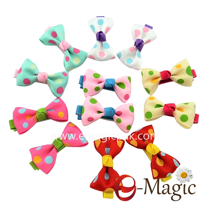 HB-015 Hot Candy Color Solid Dot Flower Print Ribbon Bow Hairpin BB Hair Clips for Baby Girls Kids Hair Accessories
