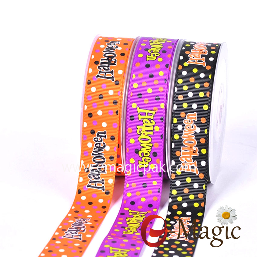 Halloween-08  Cheap 1 Inch Halloween Printed Grosgrain Ribbon For Decorations