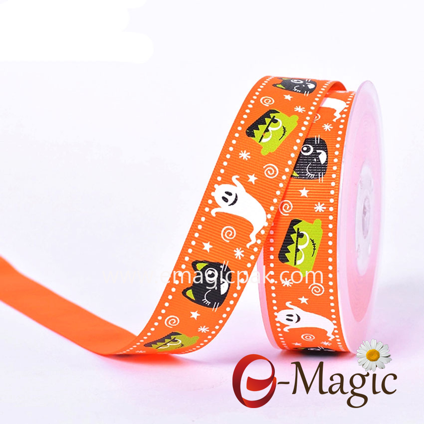 Halloween-09 Halloween Lovely design pumpkin patterned printed on grosgrain