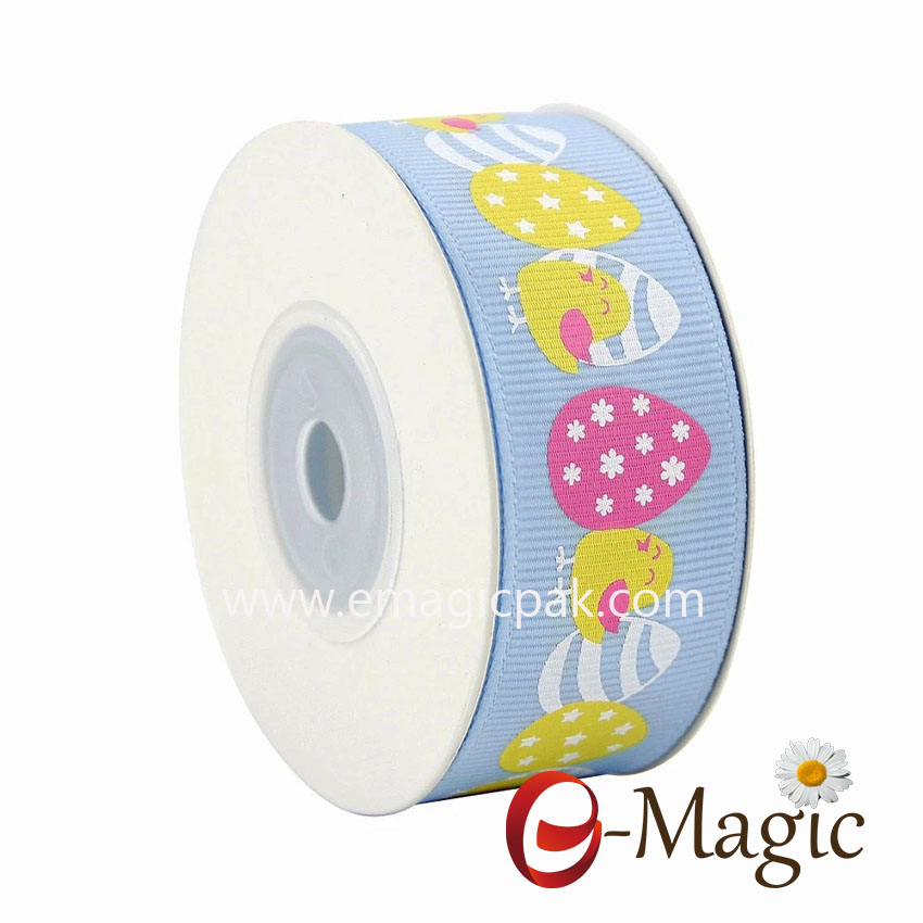 Easter-01 2018 New Arrival Wholesale Custom High Quality Easter Printed Grosgrain Ribbon