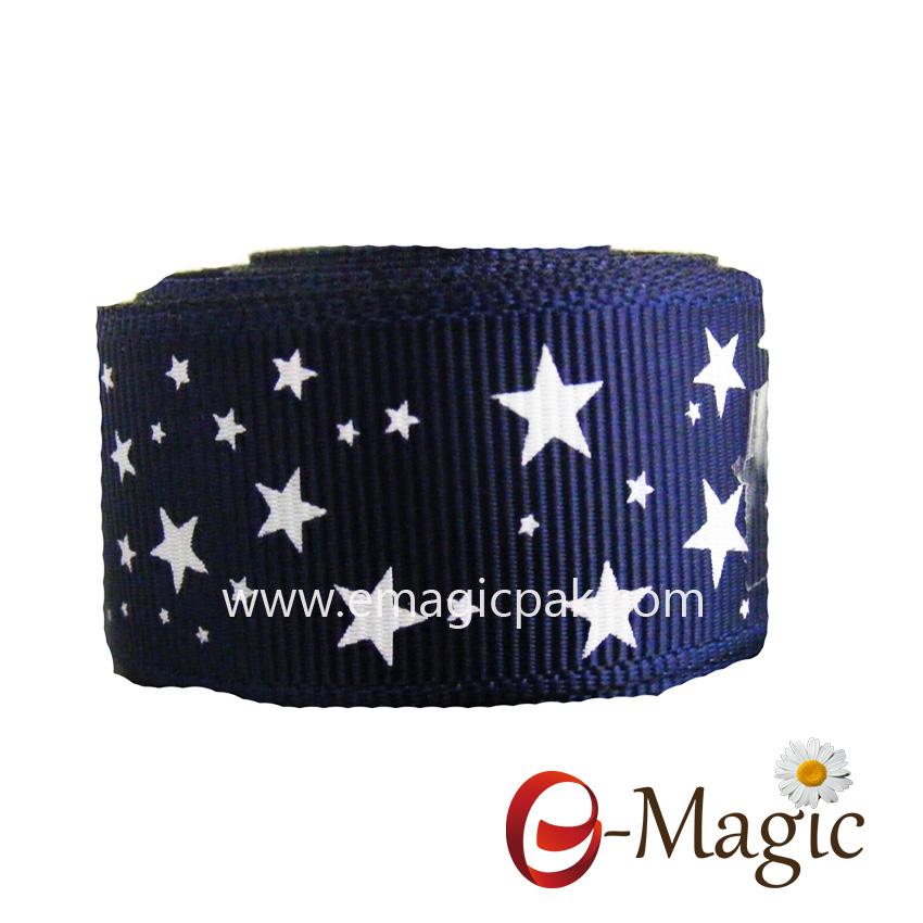Star-07 Grosgrain Cheer Ribbon Silver Foil Star