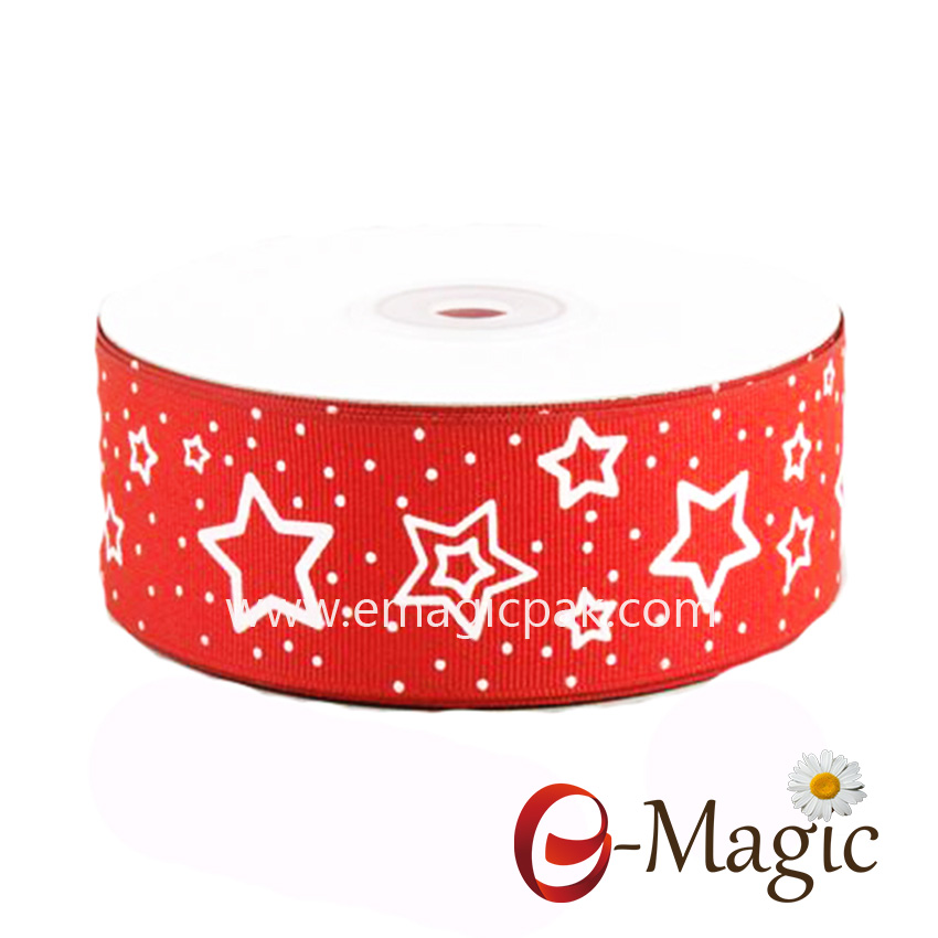 Star-04 New Products packaging stars printed grosgrain ribbon