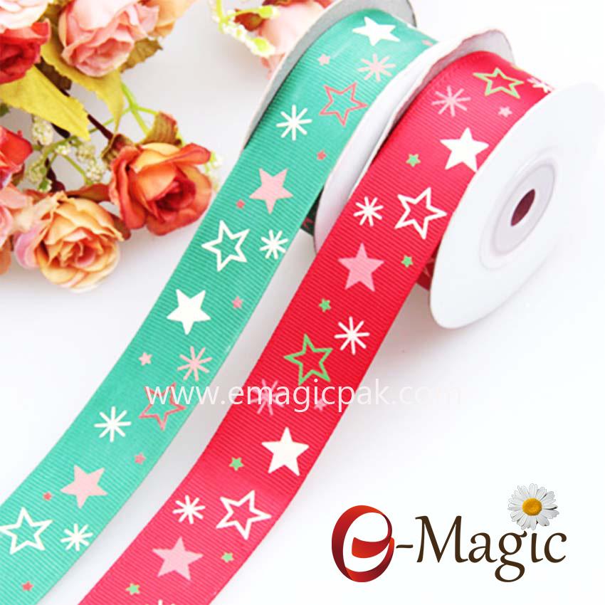 Star-06 High quality star printed silver foil grosgrain ribbon