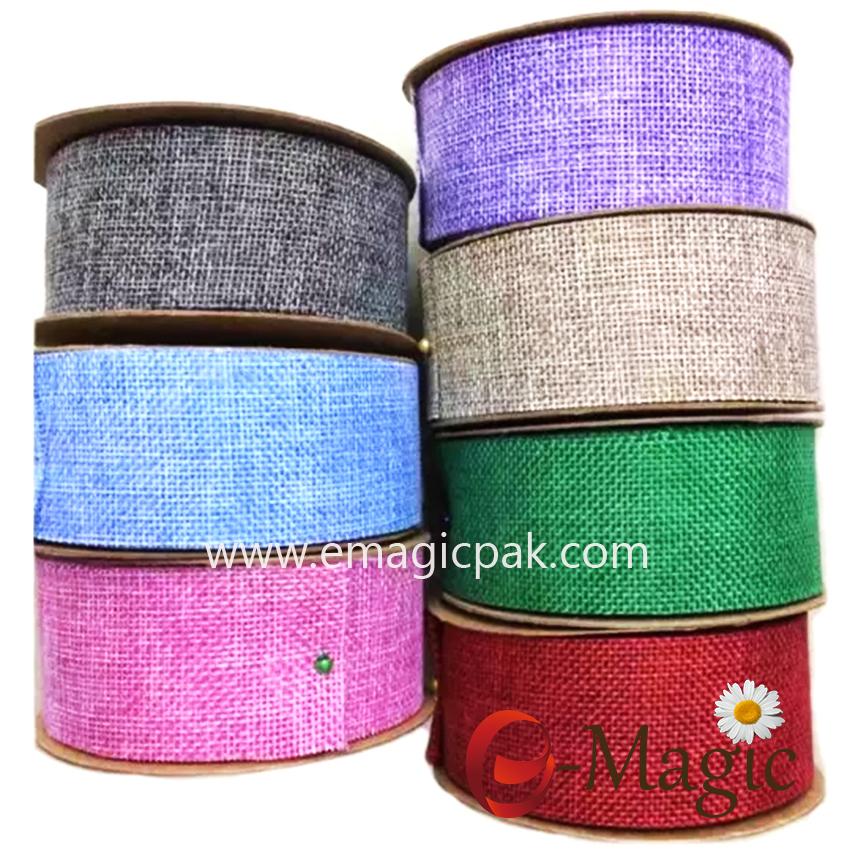 BR-01 100% polyester Colored Burlap Ribbon 5cm
