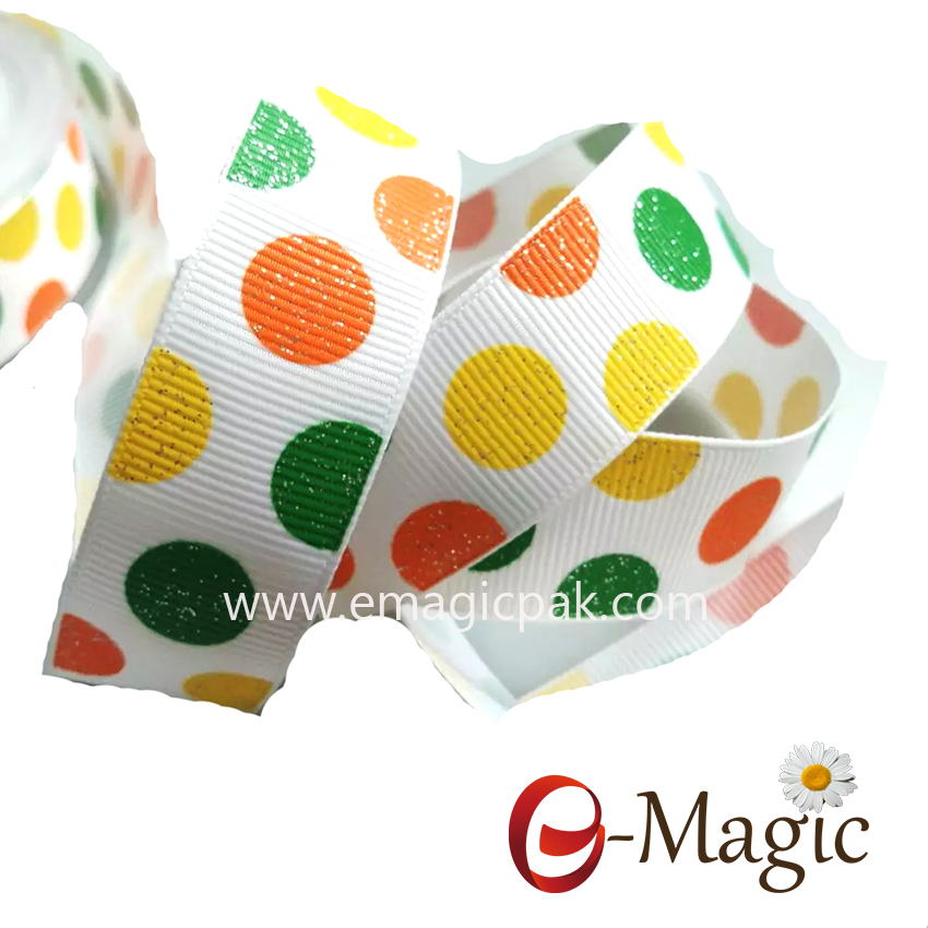PR-025 Poly Tear Custom Color Yellow Green Polka Dot Print Grosgrain Ribbon