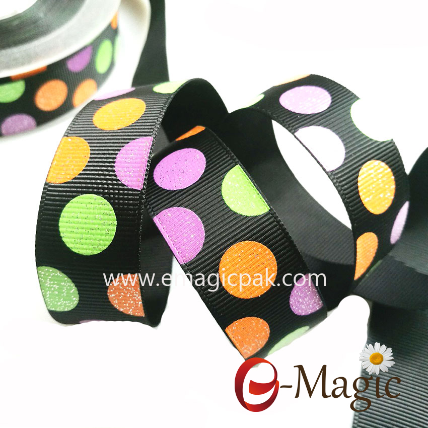 PR-025 Custom glitter dot printed grosgrain ribbon