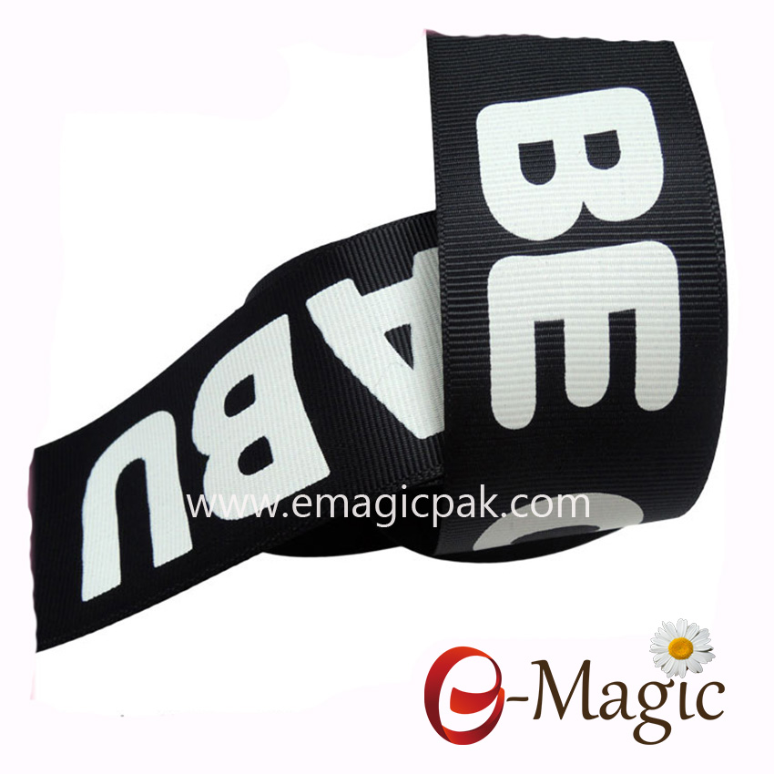 PR-038 Pigment printing white logo on grosgrain ribbon