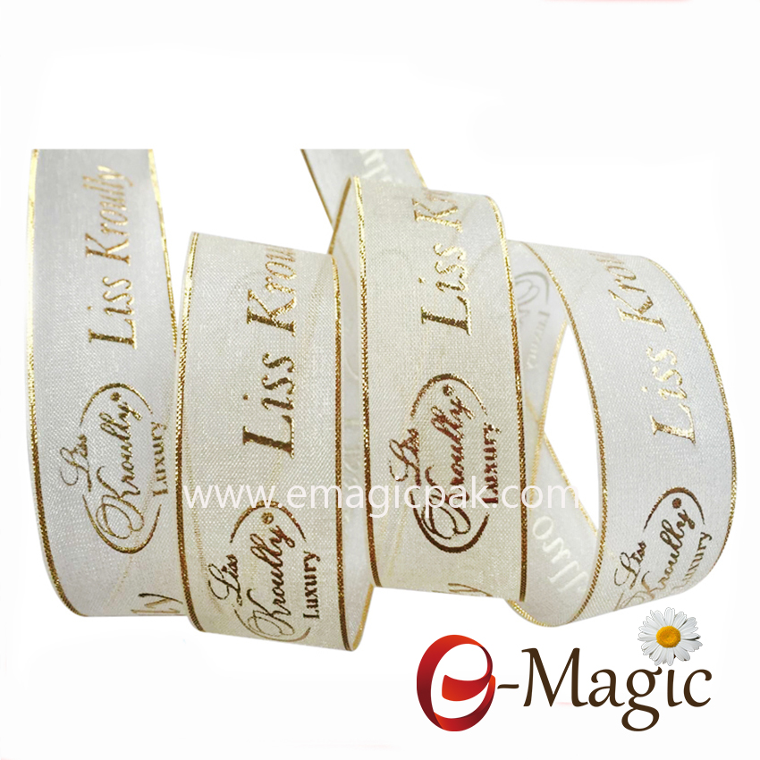 PB-025 High Quality Customize Printing Gold Sliver Wire edge Organza Ribbon