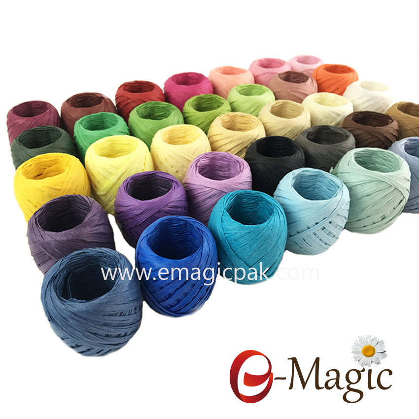 wholesale 30m per roll Colorful Twisted Paper Raffia Ribbons
