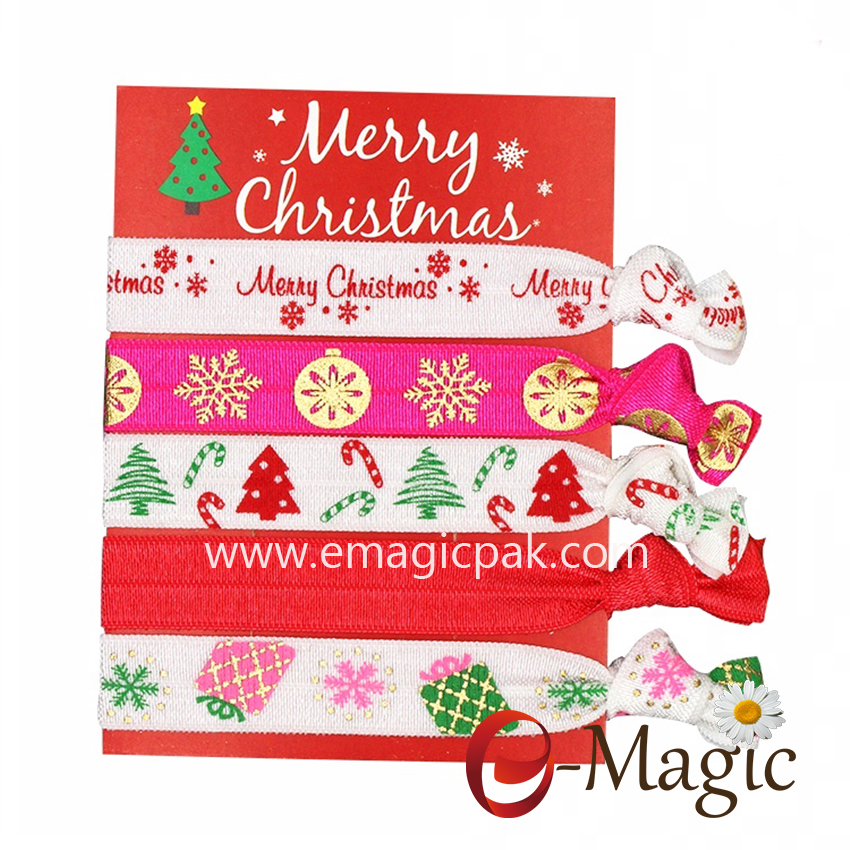 HBT-012 Elastic ribbon custom christmas hair ties