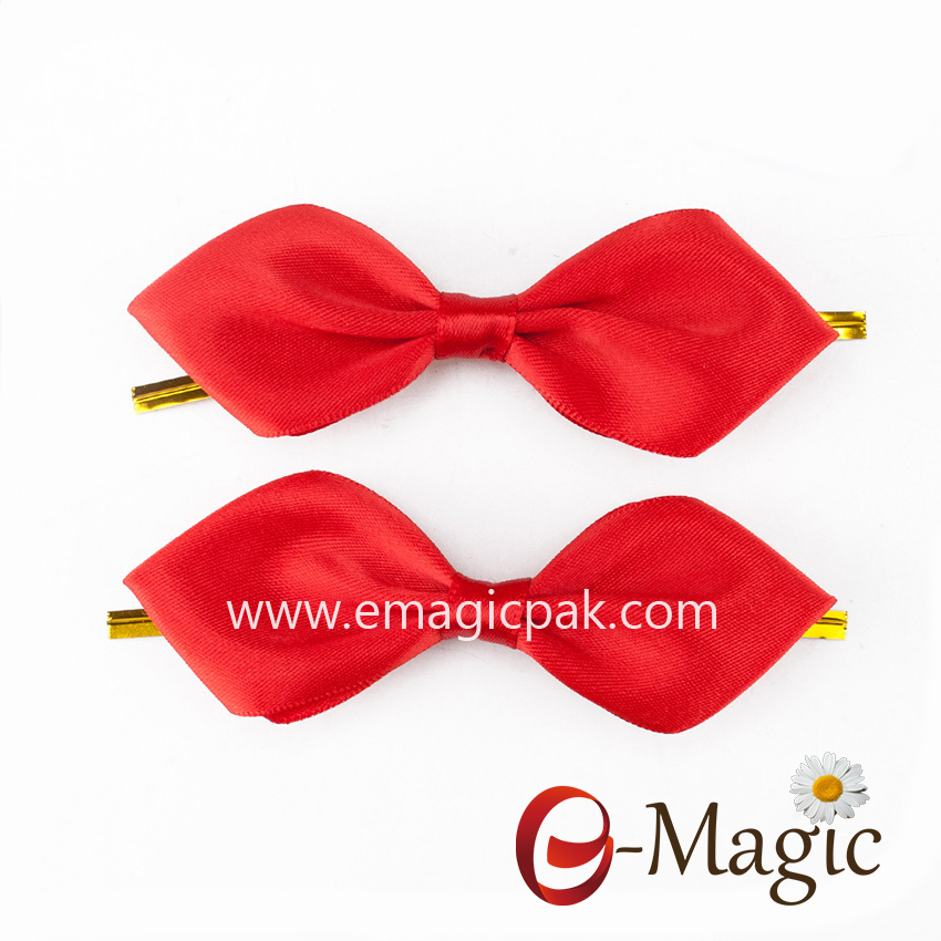 RB-047 Simple design gift packing grosgrain ribbon bow with twist tie