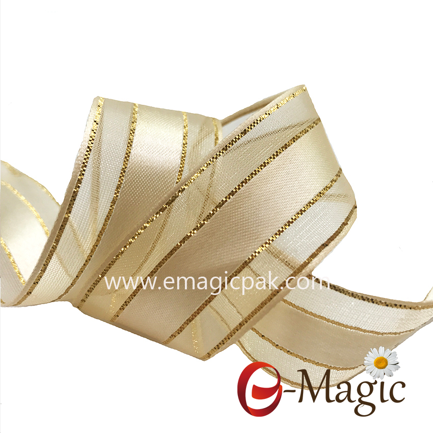 OR4-025 satin side organza ribbon with gold wire,organza ribbon