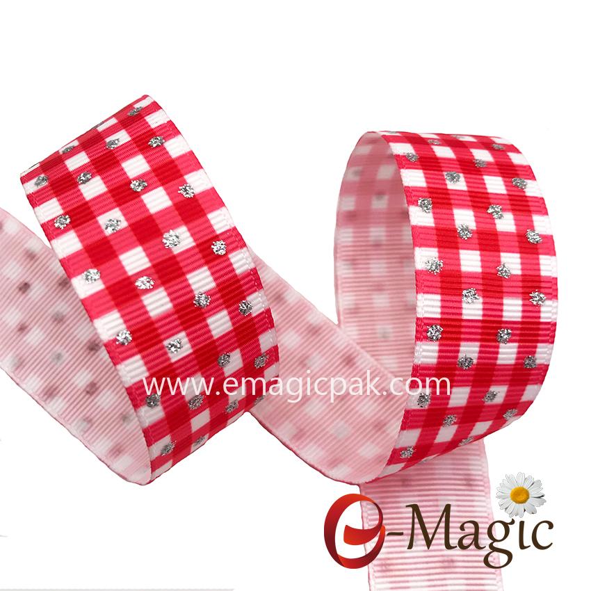 PR-025 heat transfer glitter printingm celebrate it holiday ribbon