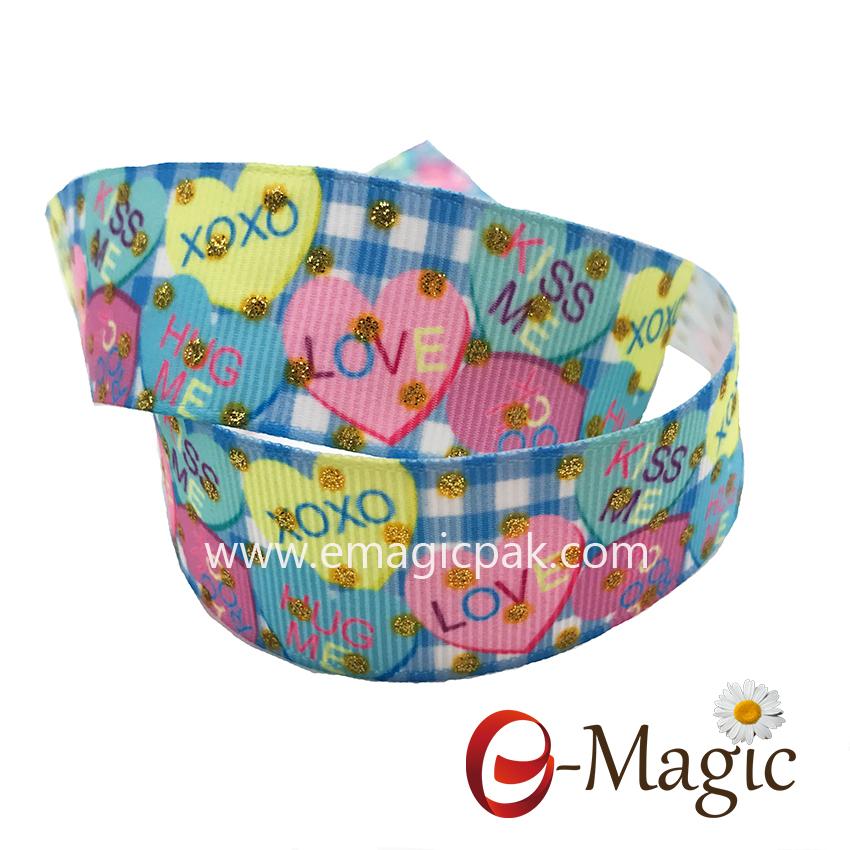 PR-025 Chinese manufacture cheap price heat transfer &glitter  printed grosgrain ribbon