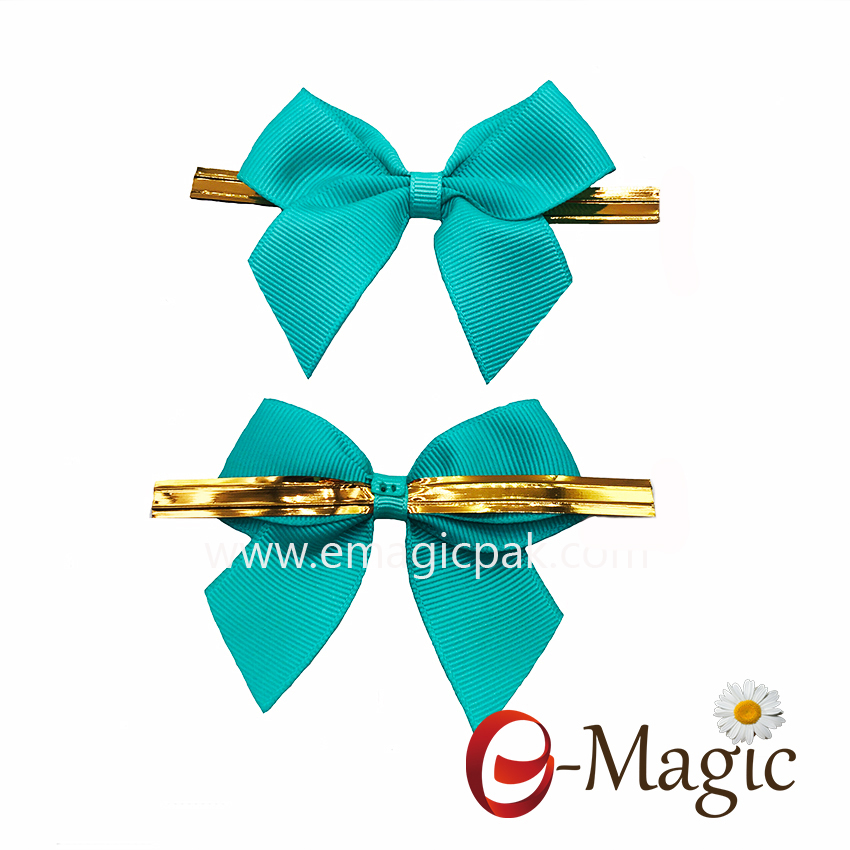 RB-052 candy bows ribbon with gold clip