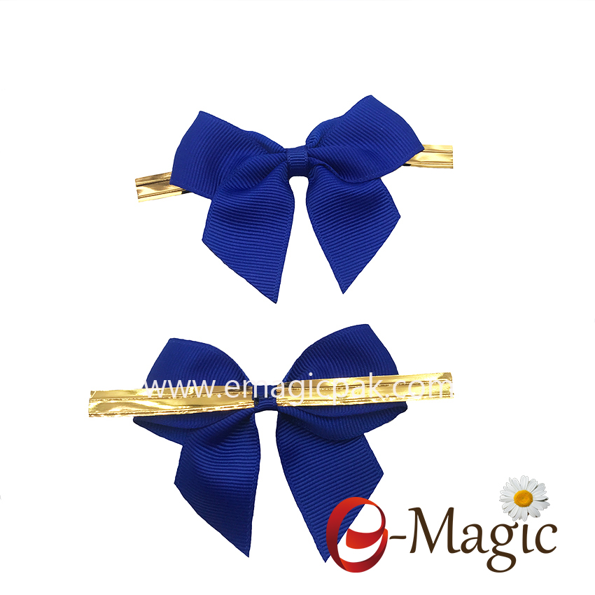 RB-051 Wholesale good quality candy gift pre tied  ribbon bow with 2 wire twist