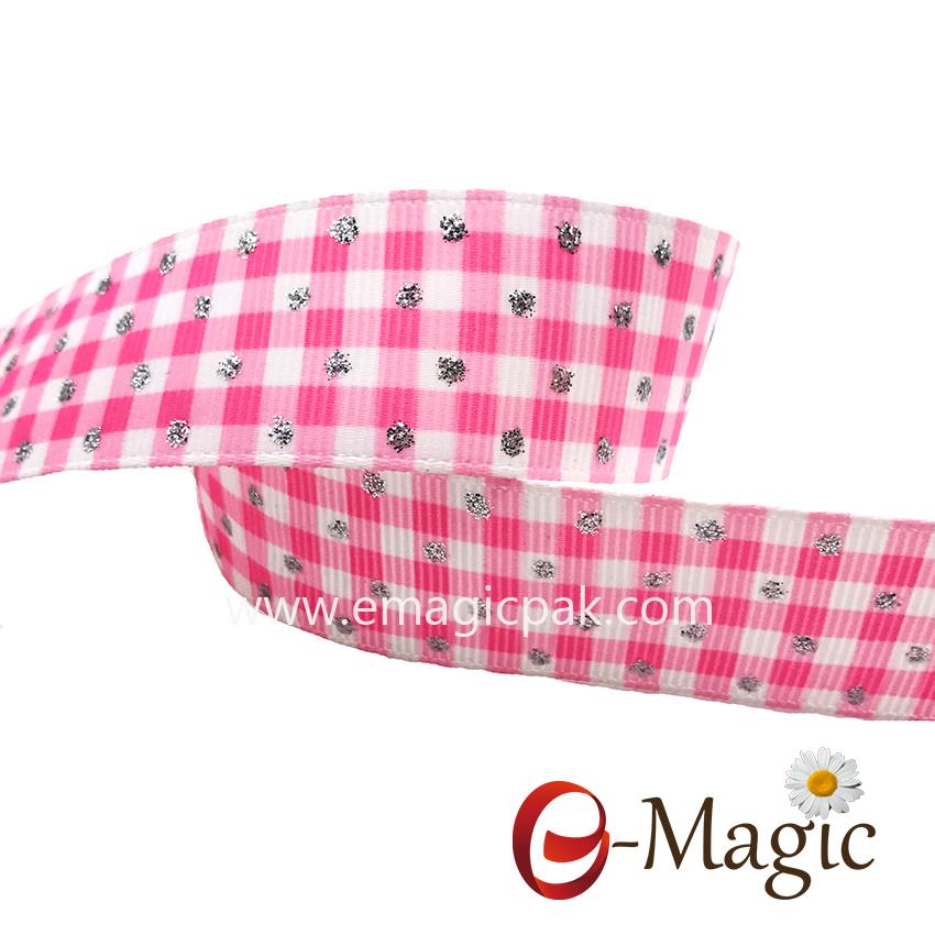 PR-025 Hotsale heat transfer tartan grosgrain ribbon with glitter