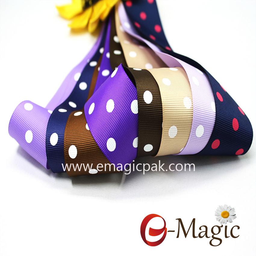 Dots-017 Good quality polka dots printed ribbon
