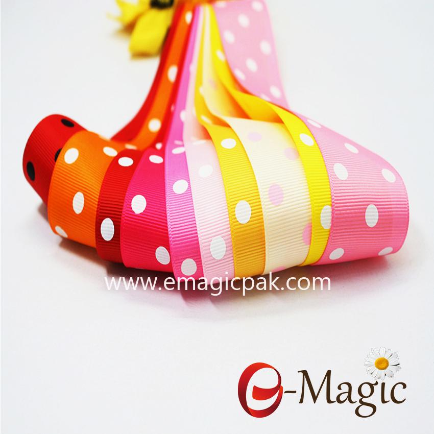 Dots-016 Colorful polka dots printed ribbon