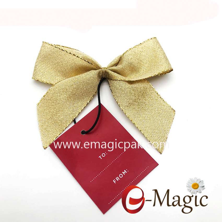 RB-050 Wholesale price Gift packing gold ribbon bow with tag