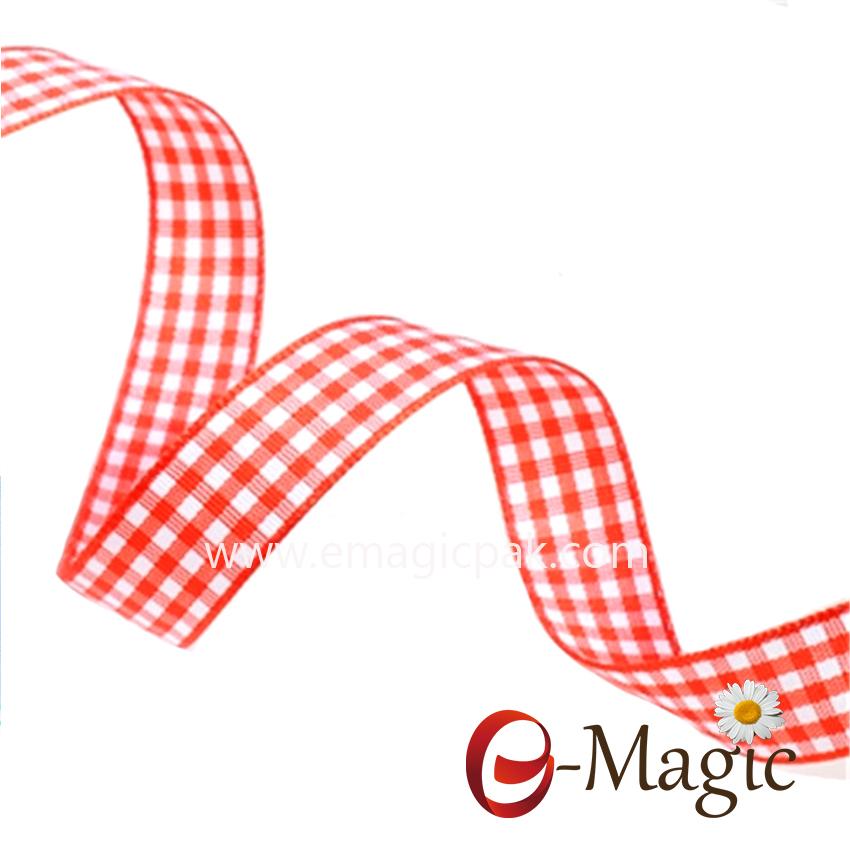 PR-016 Better Quality Woven Check Ribbon Tartan Ribbon