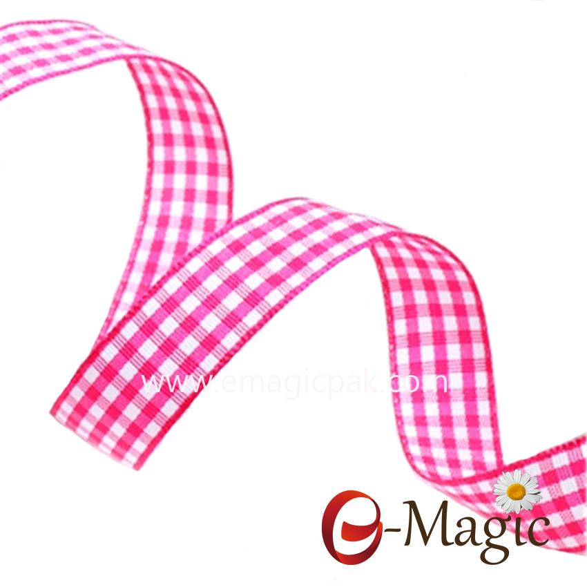 PR-016 Fashion Custom Christmas Plaid Plain Ribbon For Gift Wrapping