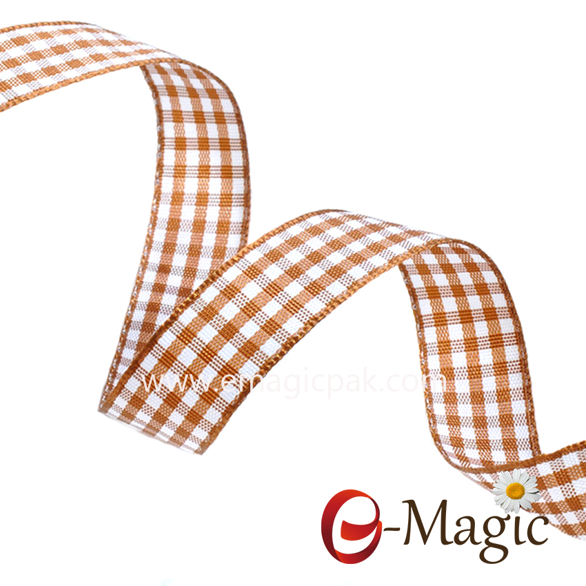 PR-016 factory stocked wholesale 9 sizes fashion grid gingham plaid ribbon