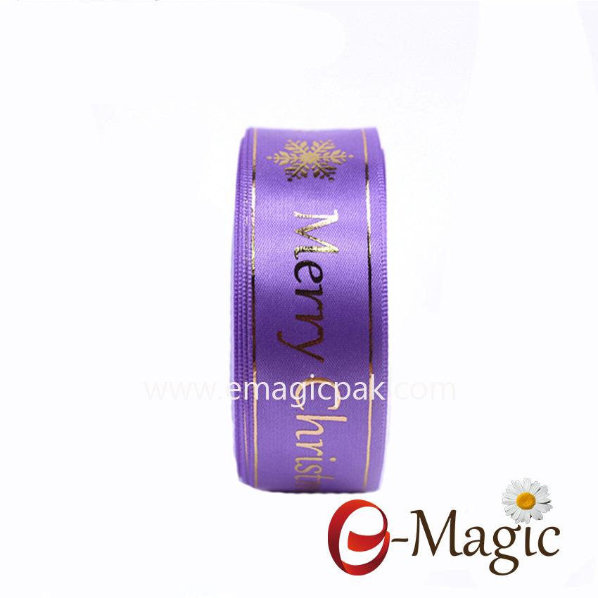 PR-016 satin ribbon with plastisol foil printing logo in 3D look