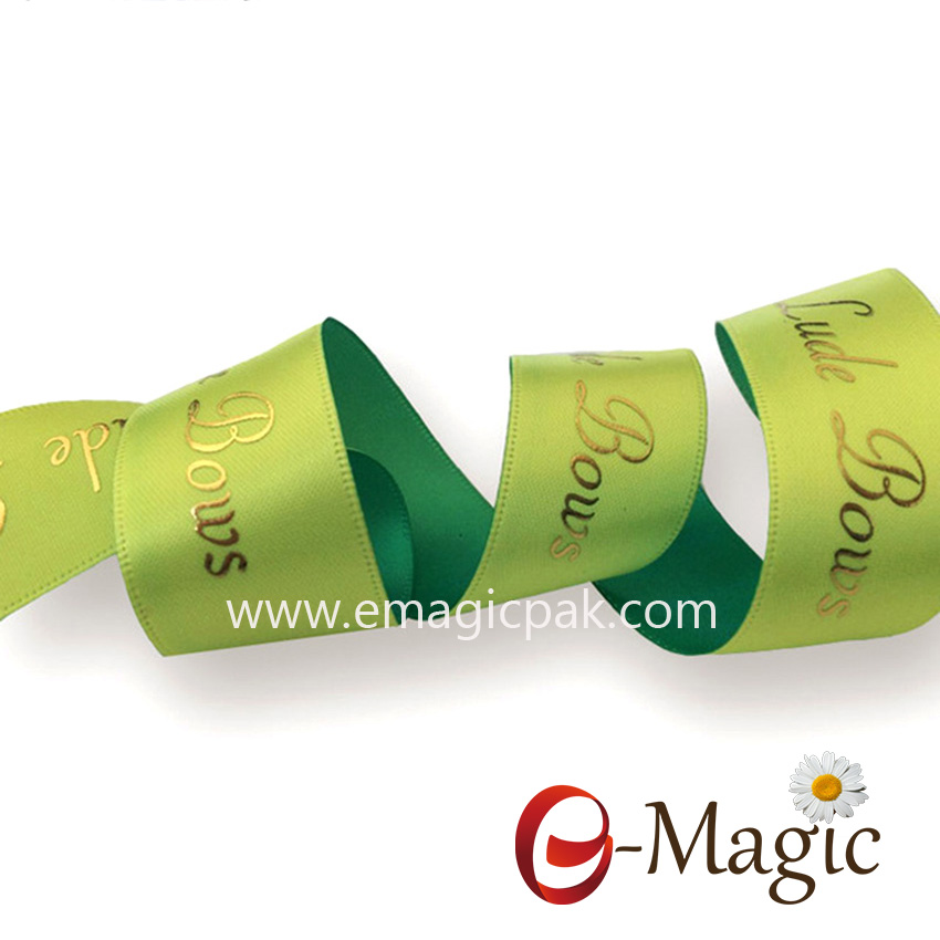 PR-025 Satin ribbon with heat transfer and puff foil in gold