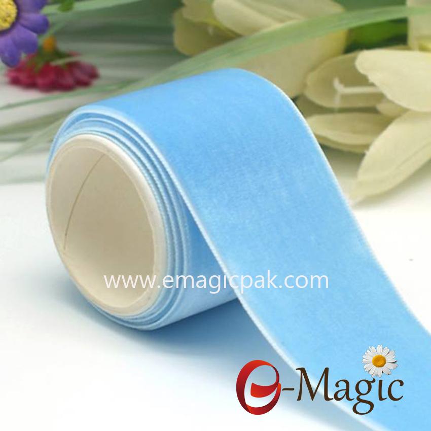VR10000-038   Nylon blue single face velvet ribbon