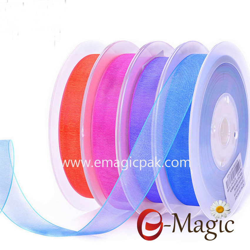 OR1-016 factory polyester solid color custom printed organza sheer ribbon