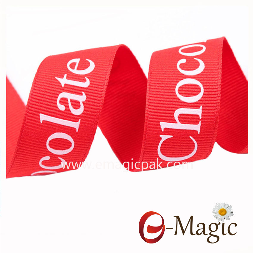 PR-025  25MM wide 100% polyester red grosgrain screen ink logo printed ribbon