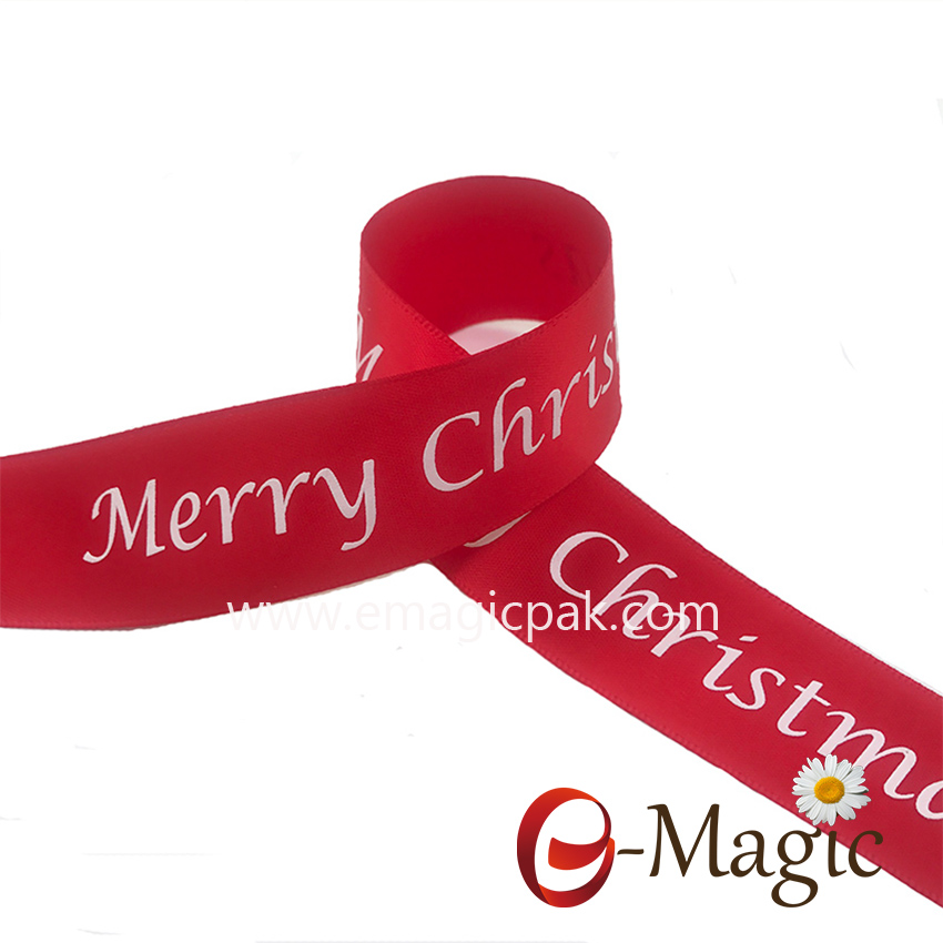 PR-025  1 inch satin ribbon with plastisol print logo in 3D look with special treatment