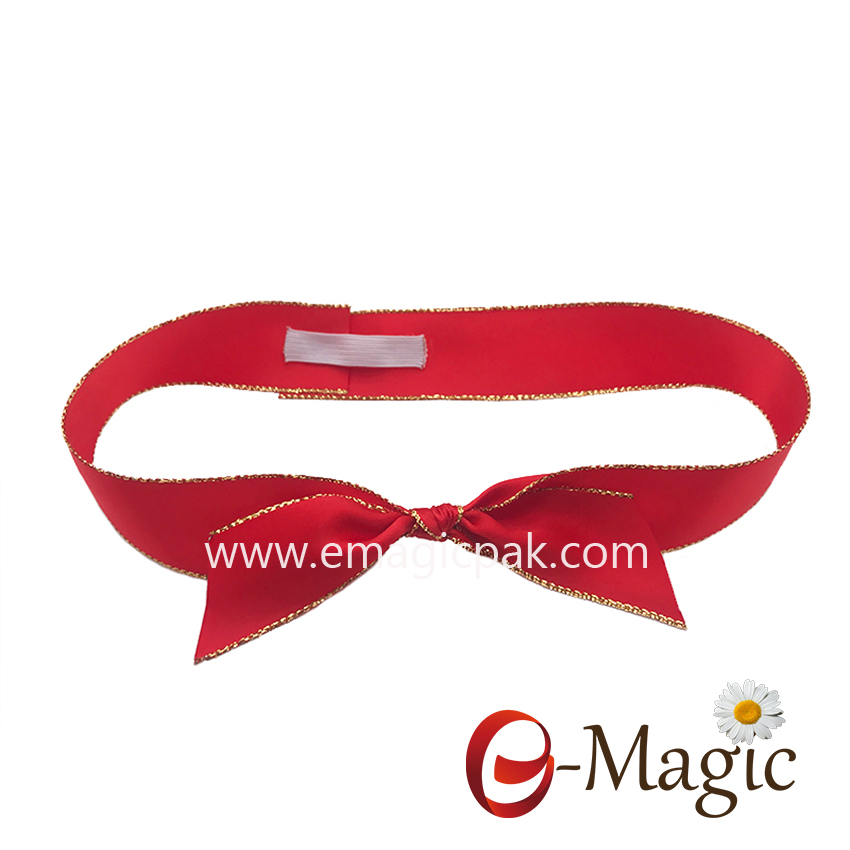 PB-081   25MM gold edge polyester satin ribbon pre made elastic ribbon bow for chocolate box packaging