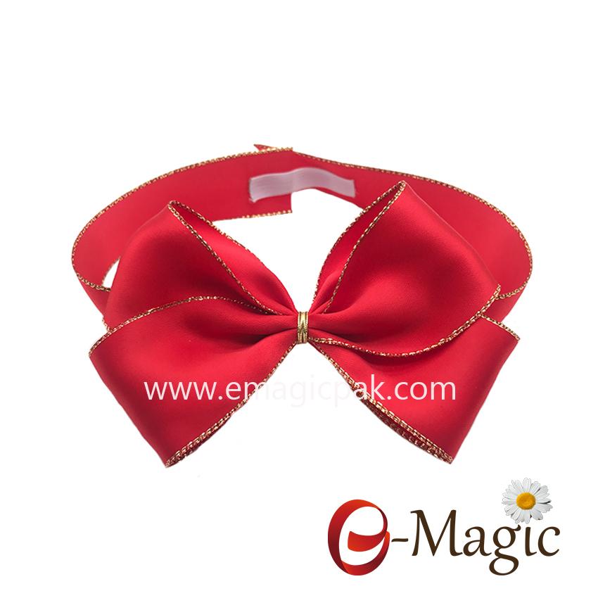 PB-082  25MM width polyester gold edge satin ribbon pre made elastic ribbon bow gift packing ribbon bow