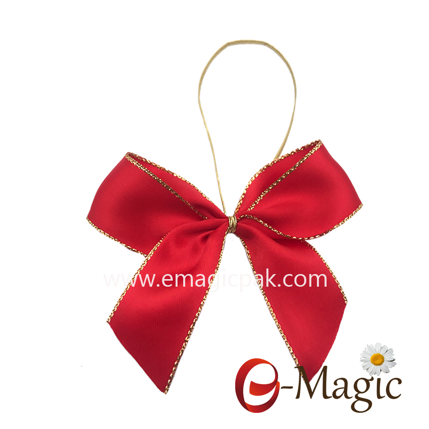 RB-053     1 inch high quality gold edge satin ribbon bow with elastic loop