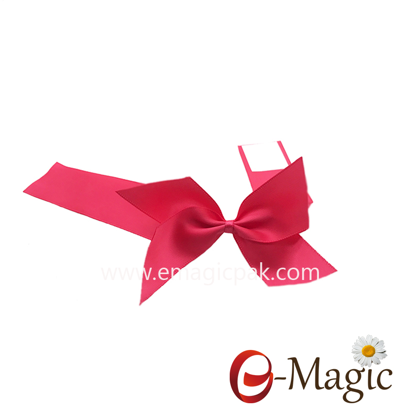 PB-083    1 inch wholesale gold egde satin ribbon with one self-adhesive ribbon bow pre-made bow