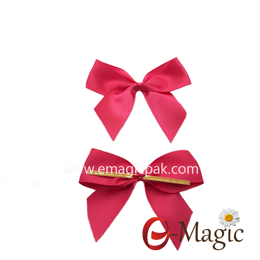 RB-043  25MM width polyester single face satin ribbon bow with clip for chocolate and candy packaging