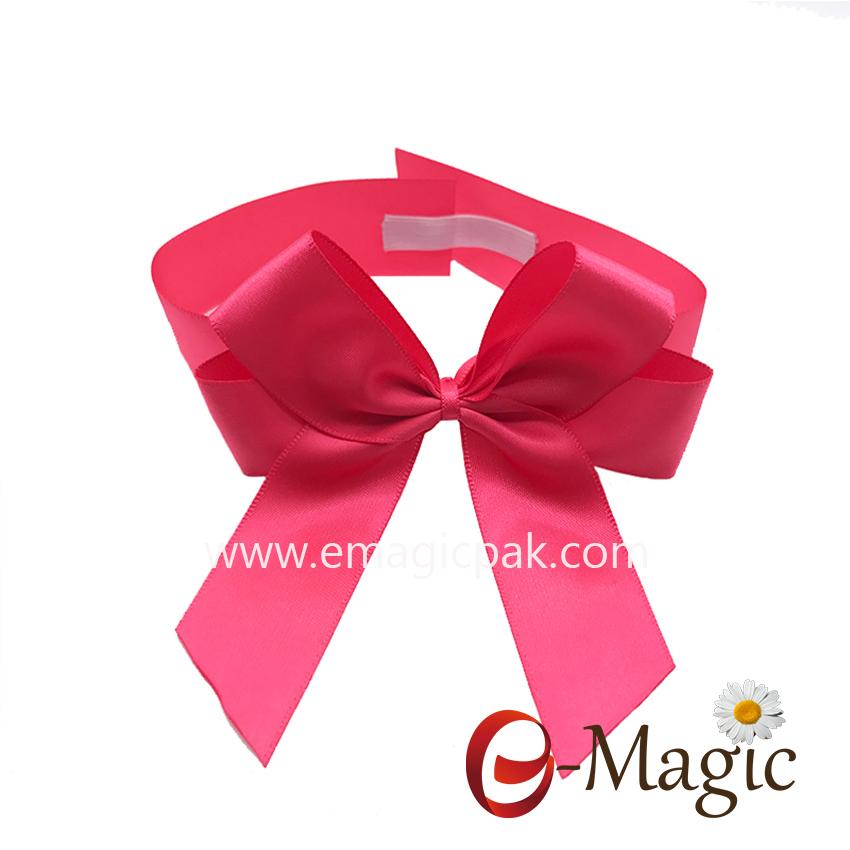 PB-080  1 inch wholesale christmas ribbon pre made elastic ribbon bow