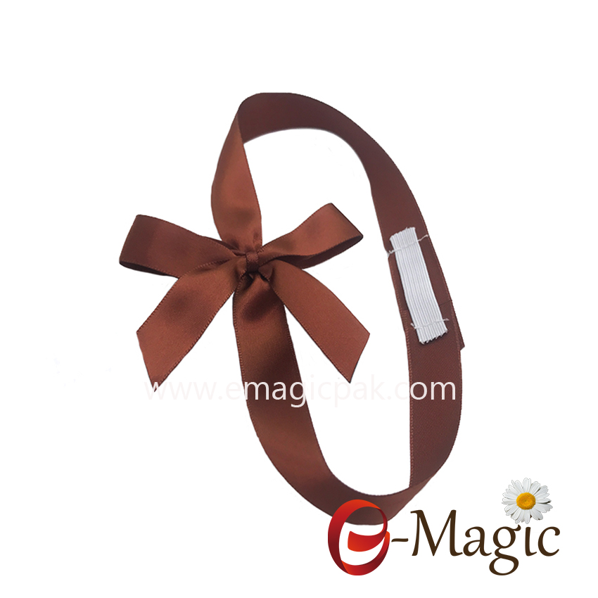 PB-021  High Quality Gift packing elastic pre made satin ribbon bow