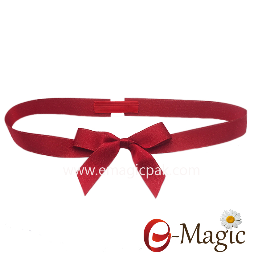 PB-023  polyester 5/8 inch red satin ribbon with gold lurex packing bow for christmas gift decoration