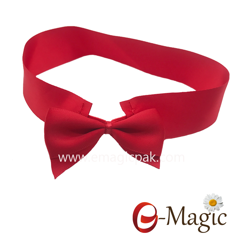 PB-024  25MM width High quality satin ribbon with elastic packing bow